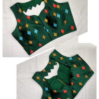 Comely Bottle Green Meenakani Jacquard fancy Neck Readymade Blouse
