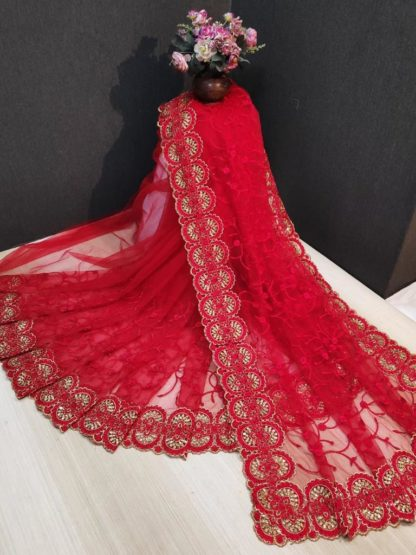 Magnificent Red Net With Embroidered Diamond Work fancy designer saree