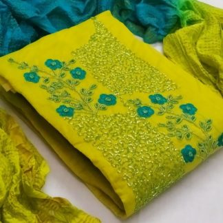 Charming Yellow Cotton With Hand Work New Salwar suit design online