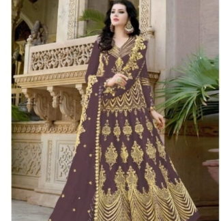 Sensational Brown Net With Embroidered Diamond Work Anarkali New Salwar suit design online