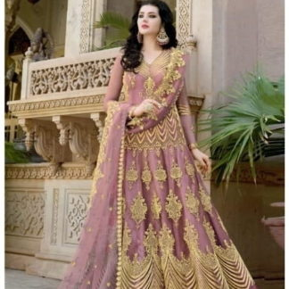 Ravishing Pink Net With Diamond Embroidered Work Anarkali New Salwar suit design online