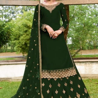 Striking Green Georgette With Embroidered Work Salwar Suit