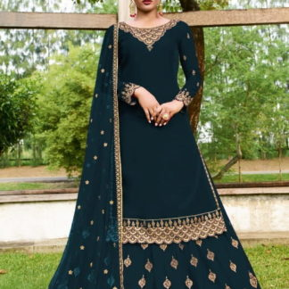 Dazzling Rama Georgette With Embroidered Work Salwar Suit