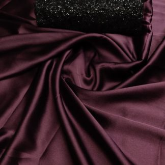 Glorious Wine Pure Satin Silk Designer Saree With Sequence Work Blouse
