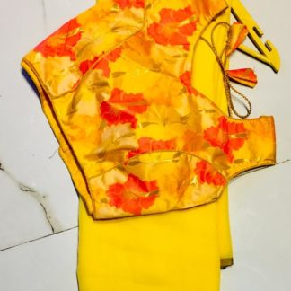 Wonderful Yellow Georgette Designer Saree With Silk Ready Made Blouse