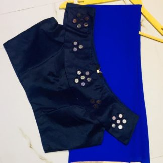 Magnificent Royal Blue Georgette Designer Saree With Silk Ready Made Blouse