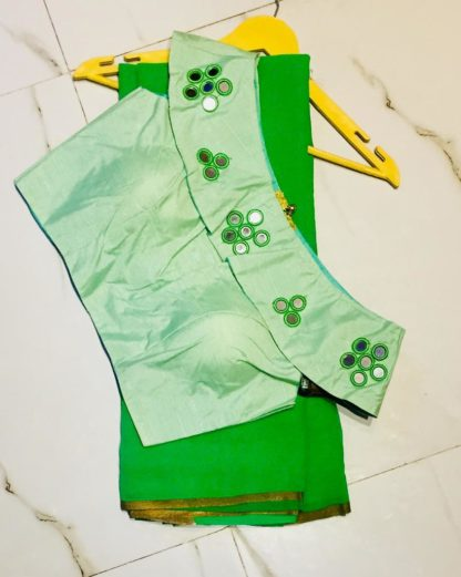 Glorious Green Georgette Designer Saree With Silk Ready Made Blouse