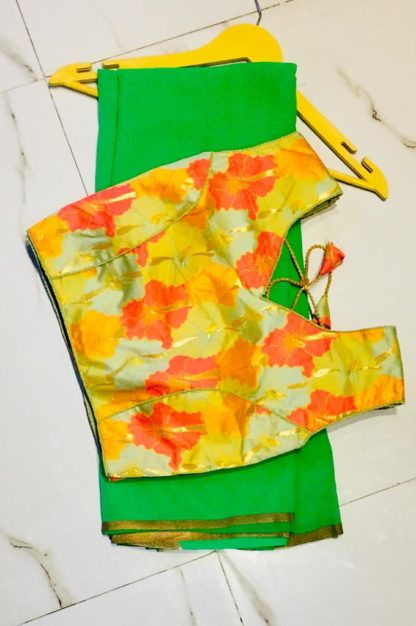 Charming Green & Yellow Georgette Designer Saree With Ready Made Blouse