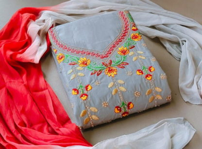 Bootylicious Grey Pure Cotton With Embroidered Work Salwar Suit