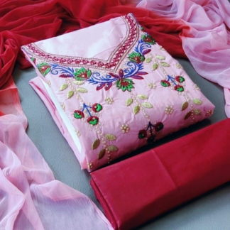 Beauteous Pink Pure Cotton With Embroidered Work Salwar Suit