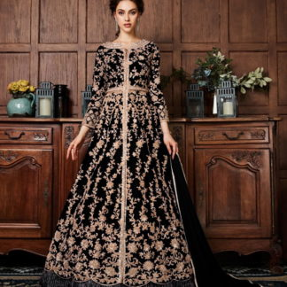 Amazing Black Net With Diamond Embroidered Work Salwar Suit