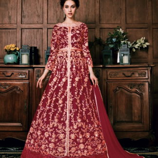 Astonishing Red Net With Embroidered Diamond Work Salwar Suit