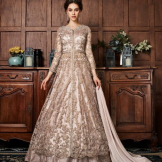 Splendid English Grey Net Embroidered Work Salwar Suit