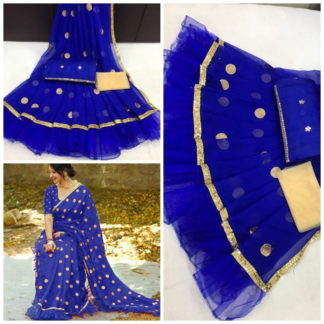 Imposing Royal Blue Ruffle Georgette With Embroidered Work Designer Saree