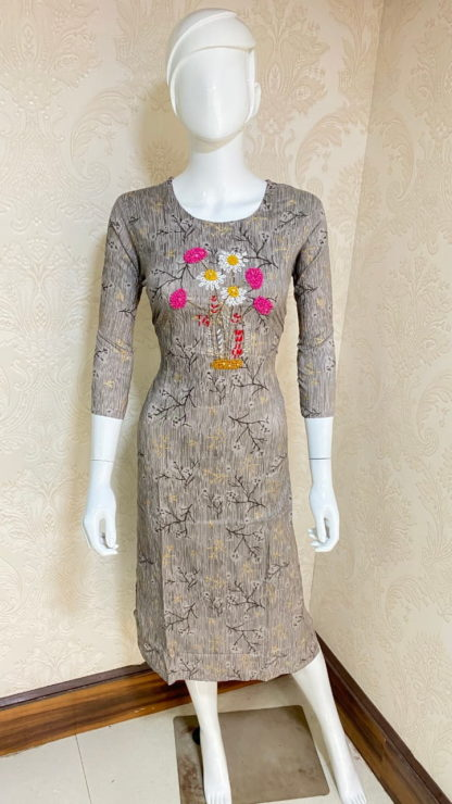 Fab Grey Rayon With Hand Work Full Stitched Long Kurti Design