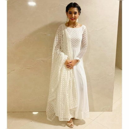 Captivating White Georgette Net With Embroidered Work Salwar Suit