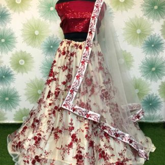 Gorgeous Maroon Net With Embroidered Sequence Work Online Lehenga Choli Design