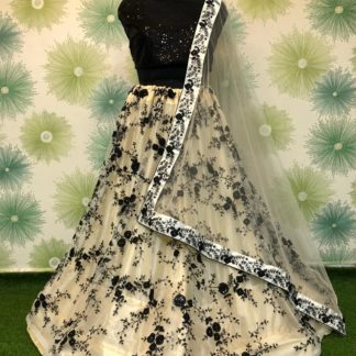 Knockout Black Net With Embroidered Sequence Work Online Lehenga Choli Design