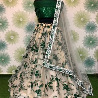 Smashing Green Net With Embroidered Sequence Work Online Lehenga Choli Design