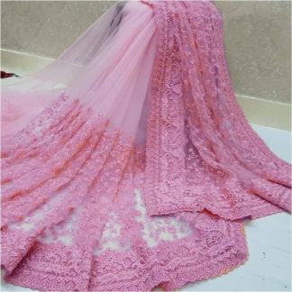 Bootylicious Pink Nylon Net With Embroidered Work Designer Saree