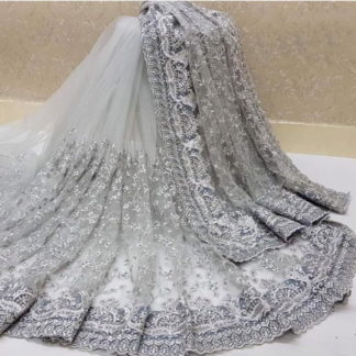 Beauteous Grey Nylon Net With Embroidered Work Designer Saree