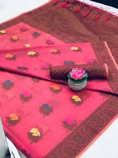 Alluring Pink Cotton With All Over Weaving Designer Saree
