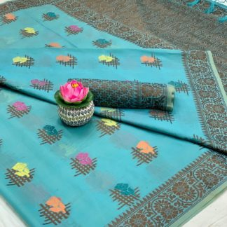 Exquisite Sky Blue Cotton With All Over Weaving Designer Saree