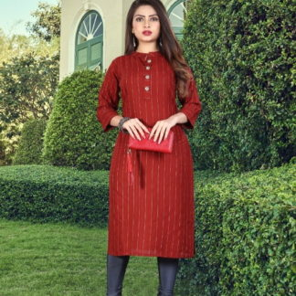 Remarkable Red Colored Rayon Dobby Dyed Long Kurti Design