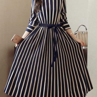 Sensational Navy Blue & White Poly Rayon Digital Printed Western Gown