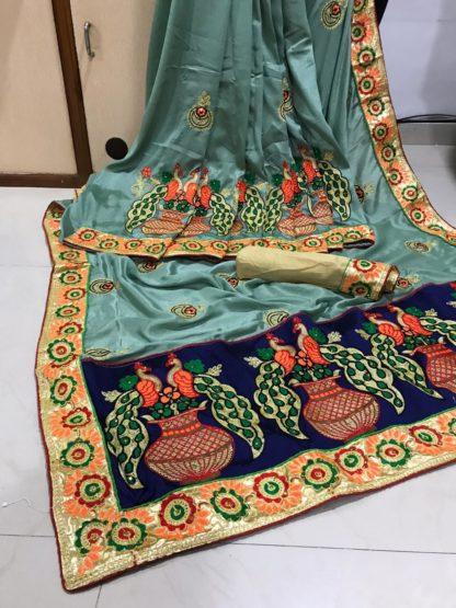 Bewitching English Colored Silk With Embroidered Work Designer Saree