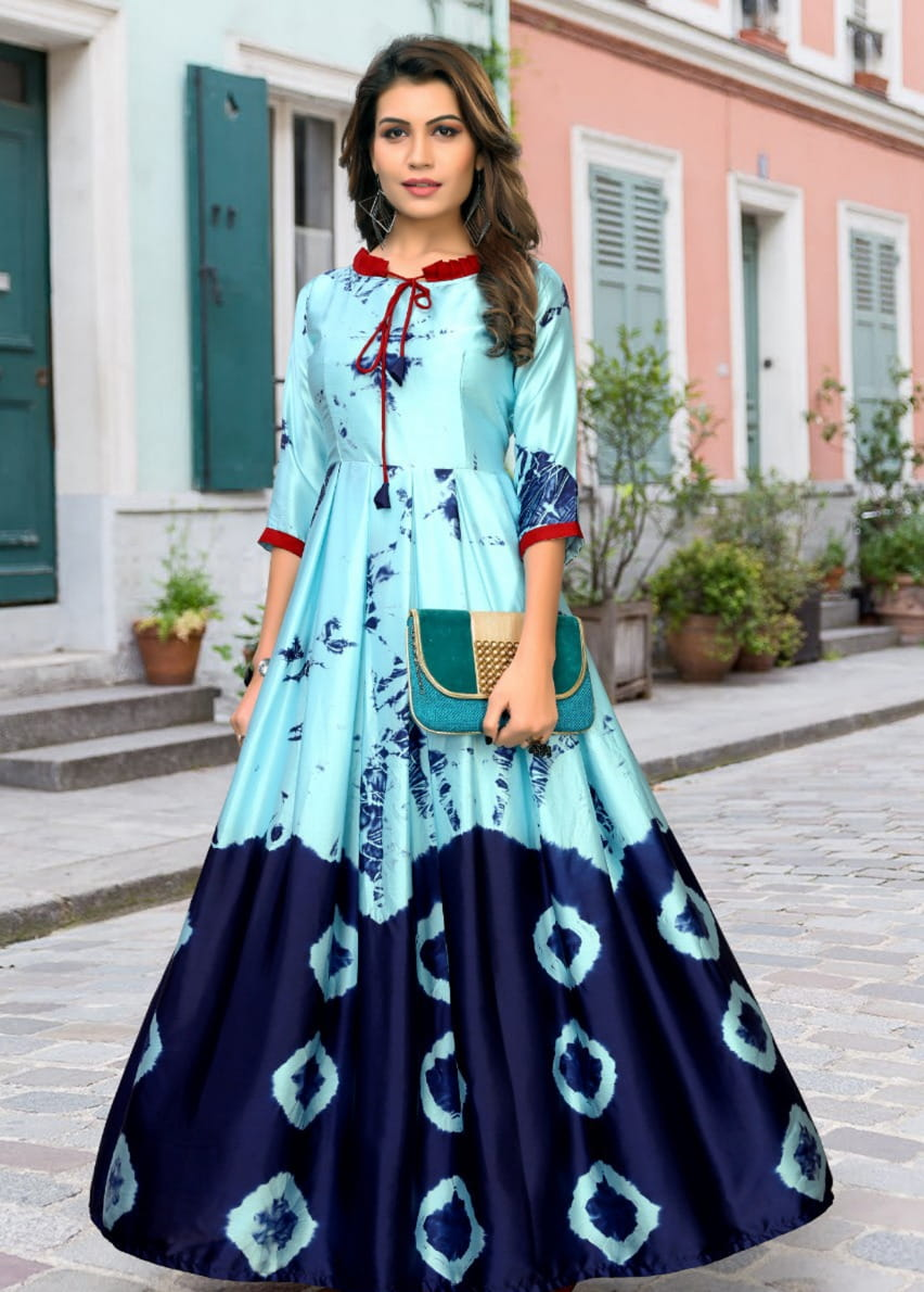 Comely Japan Satin Digital Printed Gown