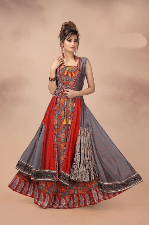 Gorgeous Grey & Red Chanderi Digital Printed Ready Made Gown