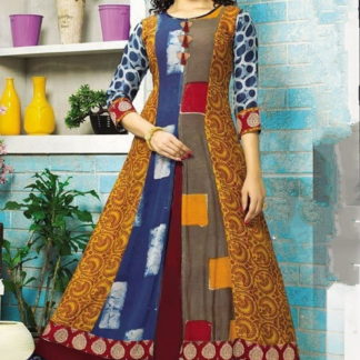 Knockout Mustard & Maroon Rayon Printed Ready Made Gown