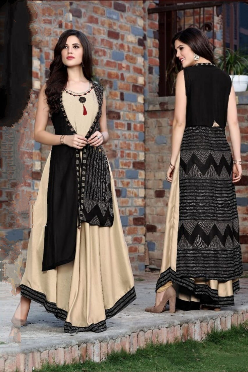 Smashing Cream & Black Rayon Printed Full Stitched Gown