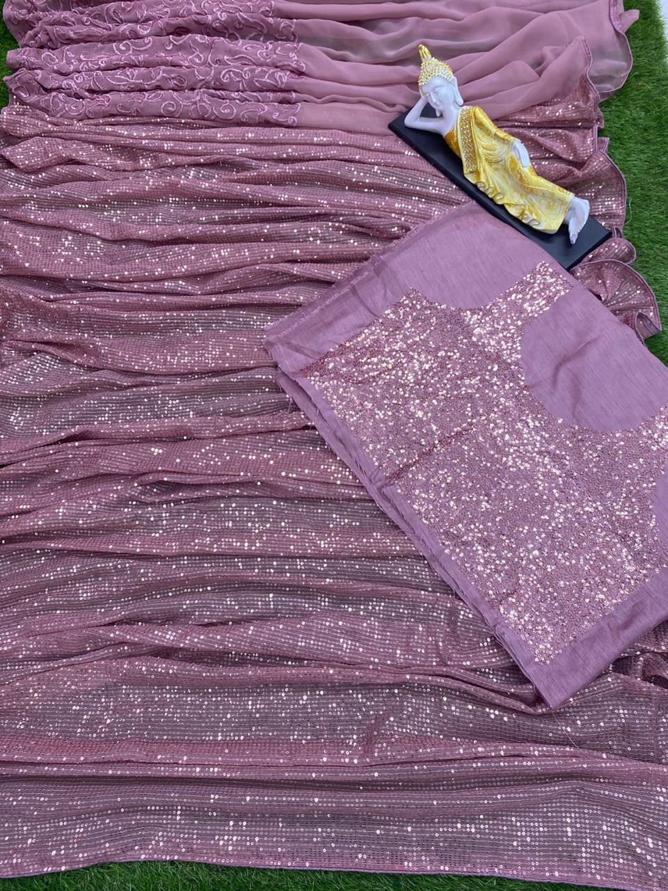 Extraordinary Light Purple Georgette Embroidered Sequence Work Saree