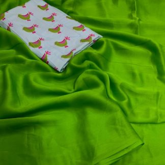 Comely Green Cotton Silk Plain Party Wear Saree