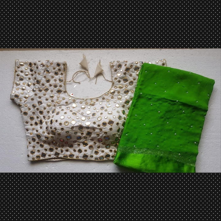 Breathtaking Green Georgette Pearl All Over Saree