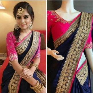 Striking Navy Blue Paper Silk Wedding Wear Saree