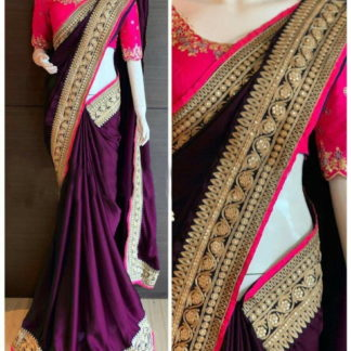 Dazzling Wine Colored Paper Silk Party Wear Saree