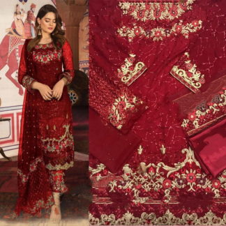 Super Red Georgette With Embroidered Work Salwar Suit