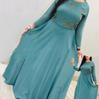 Beautiful Aqua Blue Georgette With Embroidered Work Gown