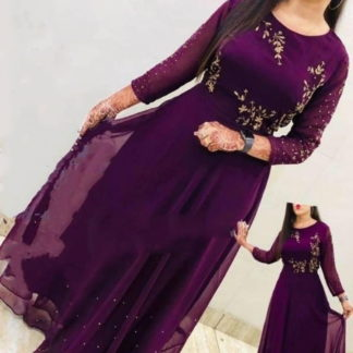 Good-Looking Wine Georgette Embroidered Work Gown