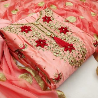 Striking Peach Satin With Embroidered Diamond Work Salwar Suit