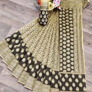 Wonderful Black & Cream Banaradi Embossed Jacquard Weaving Saree