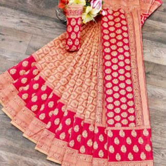Magnificent Pink & Cream Banarasi Jacquard Weaving Embossed Saree