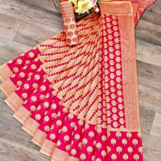 Captivating Pink & Cream Banarasi Jacquard Weaving Saree