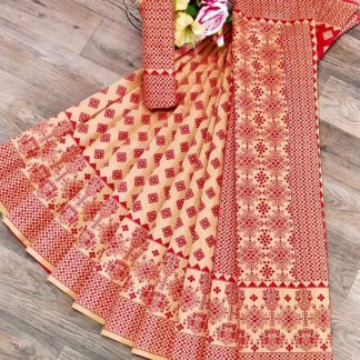 Bewitching Cream & Red Banarasi Jacquard Weaving Saree