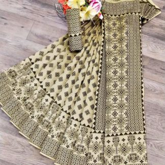Charming Cream & Black Banarasi Jacquard Weaving Saree