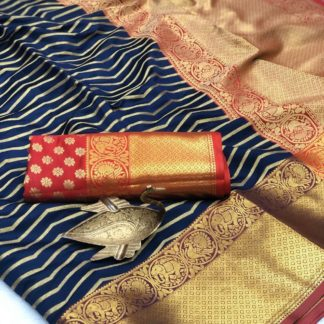 Alluring Navy Blue Banarasi Silk All Over Zari Weaving Saree