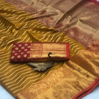 Exquisite Mustard Banarasi Silk All Over Zari Weaving Saree